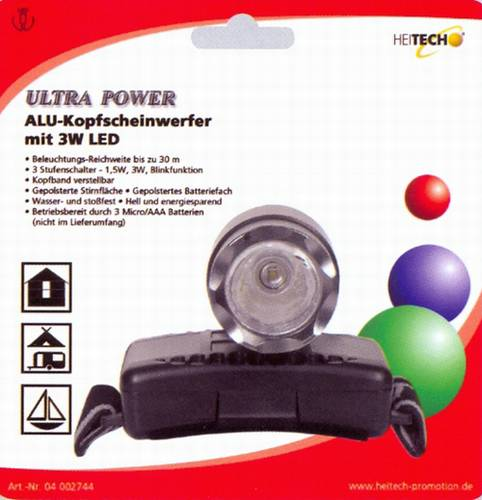 Čelní svítilna vysokovýkonná 3W LED
