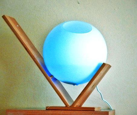 Mlžná aroma koule prosvícená - moderní design - sklo, dřevo - AKCE !