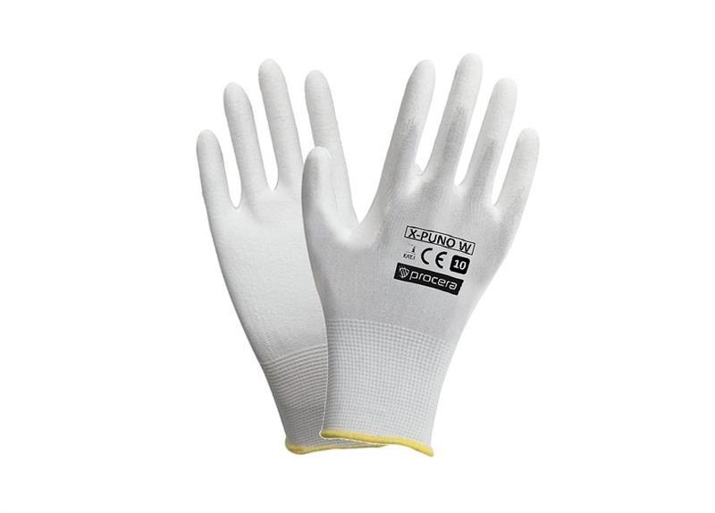 PUNO white rukavice povrstvené polyuretanem