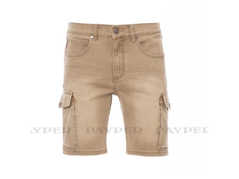 riflové šortky khaki, s elastanem