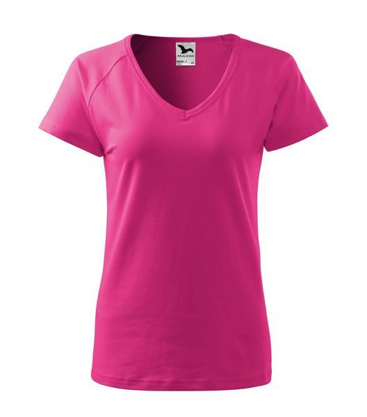 triko dámské, do V u krku, raglánový rukáv - purpurová