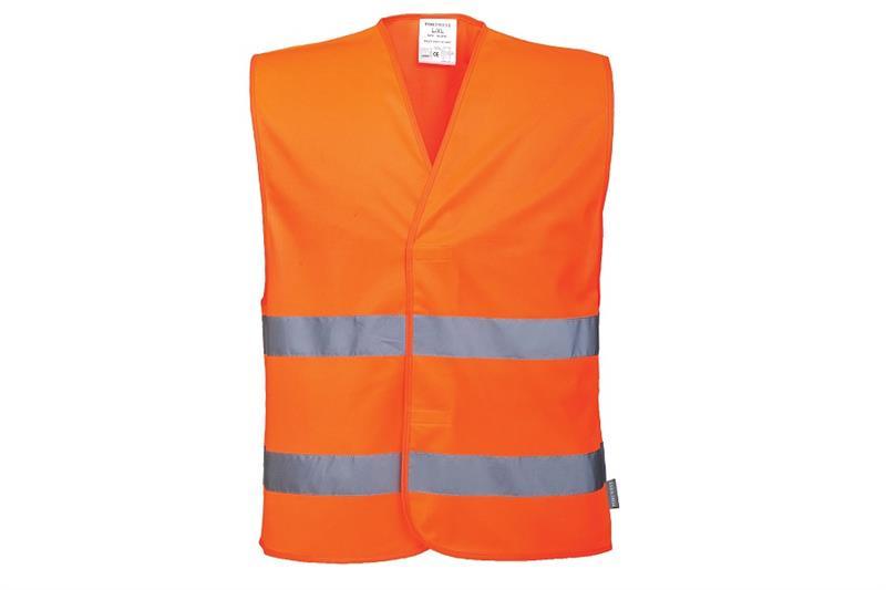 C474  Reflexní vesta s dvěma pruhy oranžová