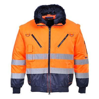 Reflexní víceúčelová bunda do pasu, odepínací rukávy, PJ50
