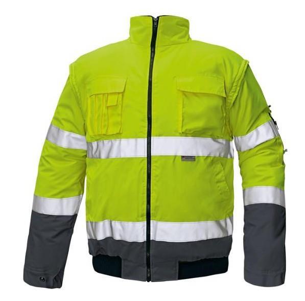 výstražná pracovní bunda Clovelly-odepínací rukávy-žlutá/modrá