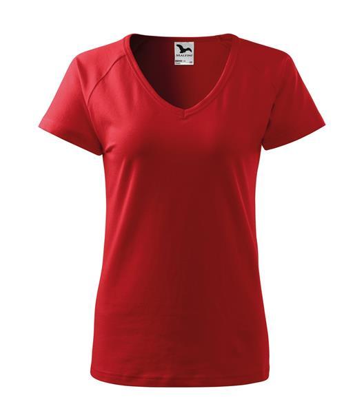 triko dámské, do V u krku, raglánový rukáv - červené