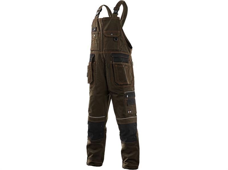 pracovní oděvy-montérkové kalhoty laclové hnědé Kryštof - Canis
