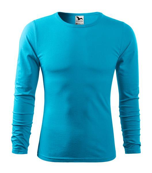 pánské tričko 160gr, kulatý výstřih dlouhý rukáv - tyrkysová