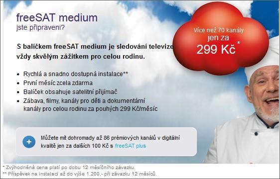 freeSAT medium - příspěvek na instalaci kompletu