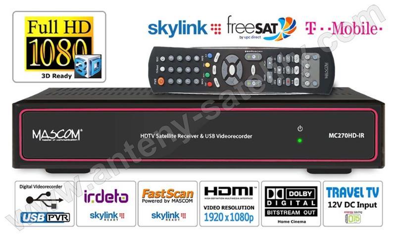 Mascom  MC 270HD IR, Skylink Ready, červený