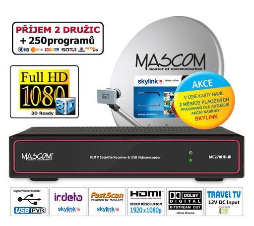 HDTV komplet Mascom MC270, karta M7 Irdeto, 1 TV, 2 družice