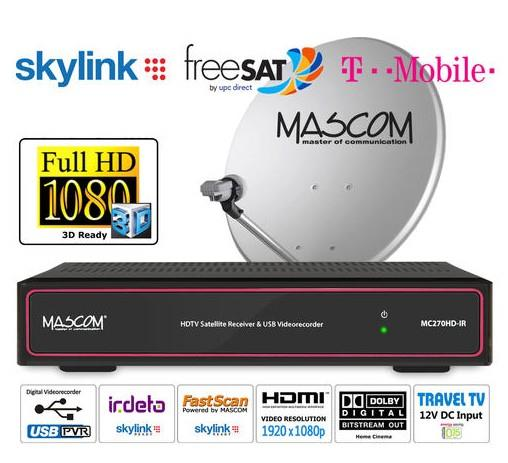 HDTV komplet Mascom MC270, červený, 1TV, 1 družice