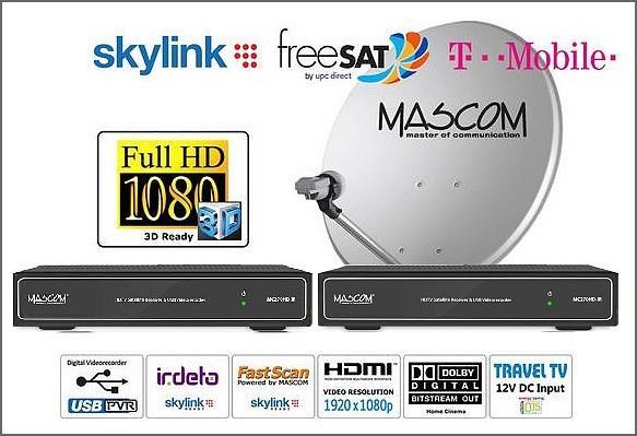 HDTV satelitní komplet Mascom MC270, stříbrný, 2TV, 1 družice