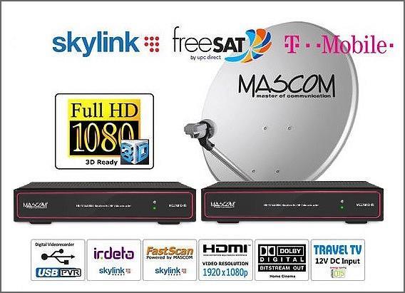 HDTV satelitní komplet Mascom MC270, červený, 2TV, 1 družice