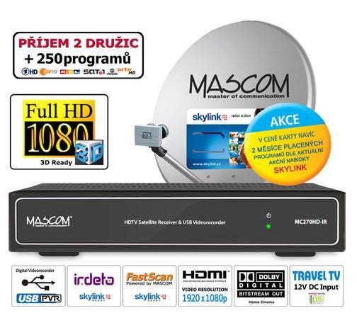 HDTV satelitní komplet Mascom MC270, stříbrný, včetně karty Skylink M7 Irdeto, 1 TV, 2 družice