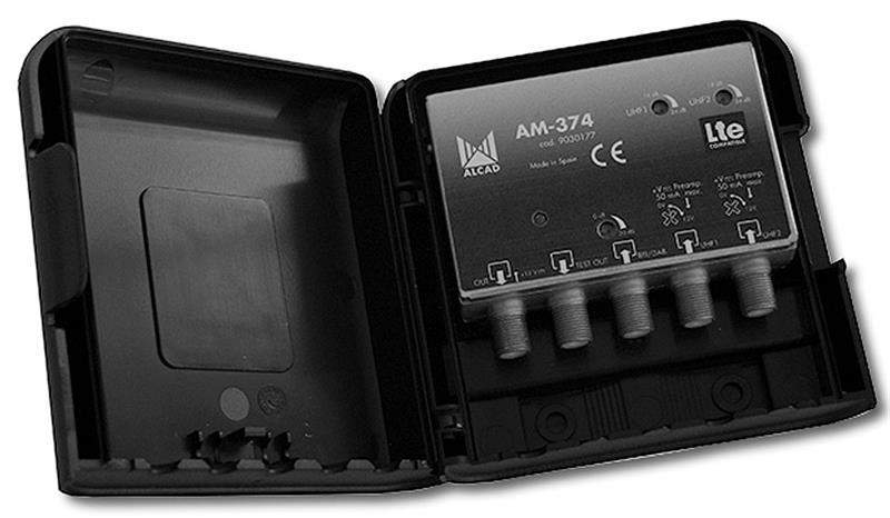 Zesilovač Alcad AM-374, 3 vstupy, BIII/ DAB+UHF+UHF, LTE kompatibilní