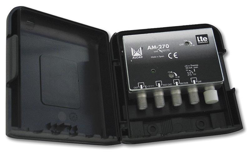 Zesilovač Alcad AM-270, 2 vstupy, BIII/ DAB+UHF, LTE kompatibilní