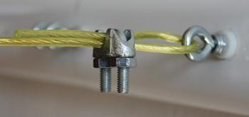 Jednoduché ukotvení prádelní šňůry v lanové svorce