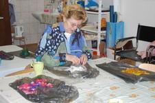 Babinec - malování na hedvábí