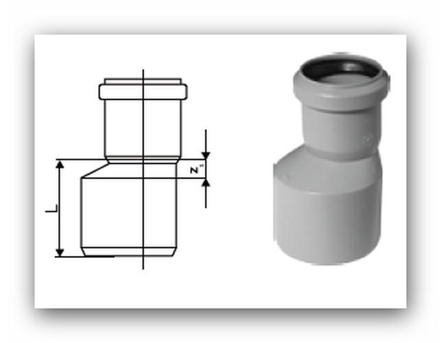 HTR Plus redukce nesouosá dlouhá DN 40/32 pro vnitřní kanalizaci |  Vodo-plasttop s.r.o.
