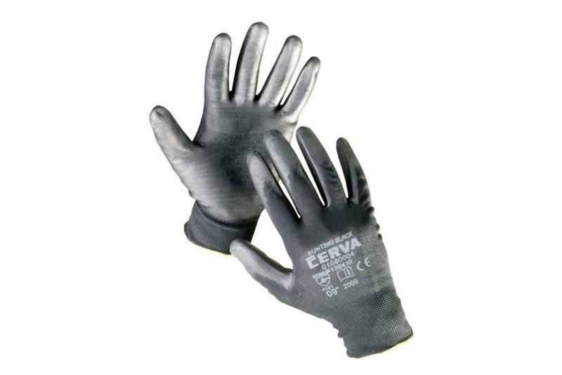 BUNTING BLACK pracovní rukavice nylonové, povrstvené polyuretanem