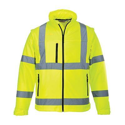 softshellová výstražná bunda S428 žlutá, odepínací rukávy