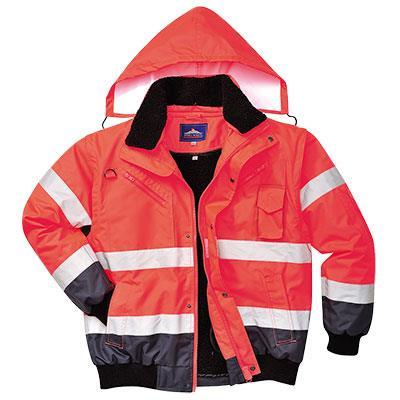 Reflexní víceúčelová bunda do pasu, odepínací rukávy,C465