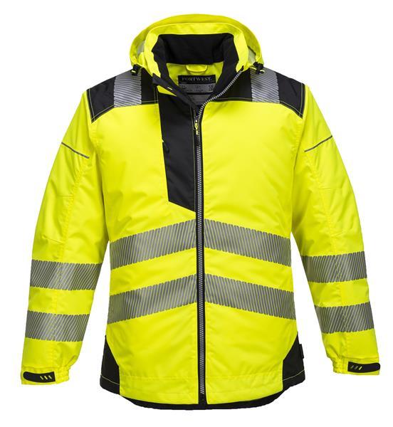 žlutá reflexní výstražná zimní bunda T400