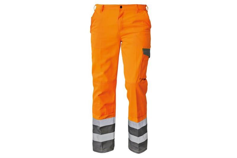 pracovní oděvy-Reflexní montérkové kalhoty COLYTON oranž